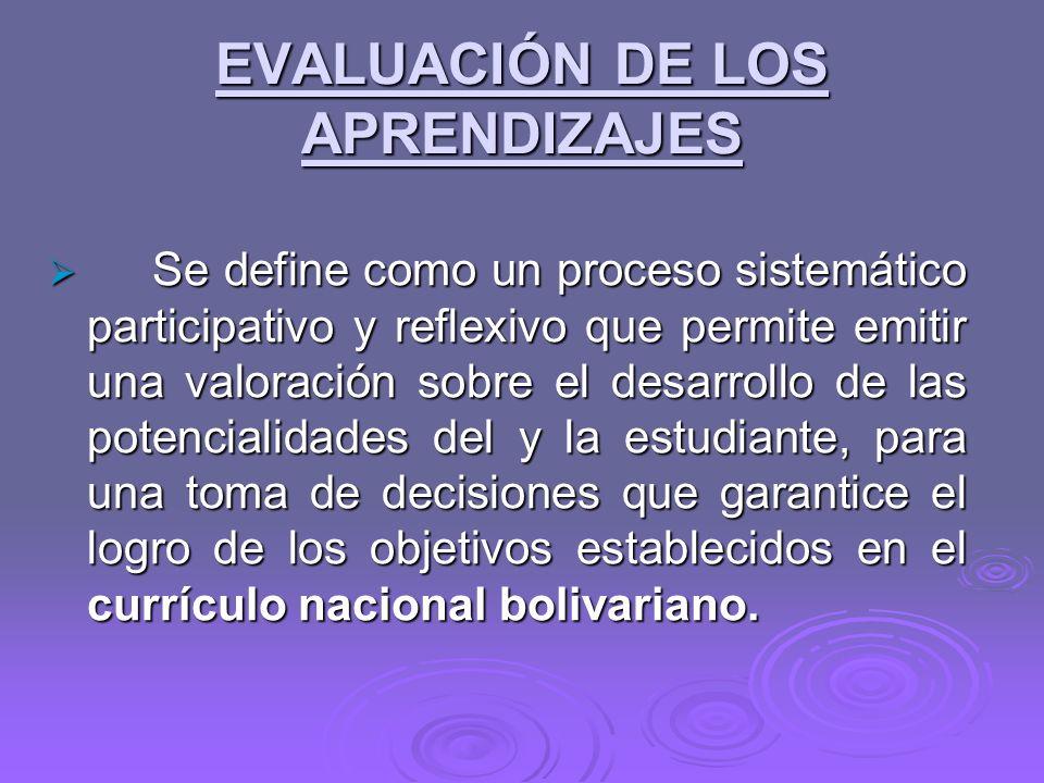 EVALUACIÓN DE LOS APRENDIZAJES Se define como un proceso sistemático participativo y reflexivo que permite emitir una valoración sobre el desarrollo de las potencialidades del y la estudiante, para una toma de decisiones que garantice el logro de los objetivos establecidos en el currículo nacional bolivariano.