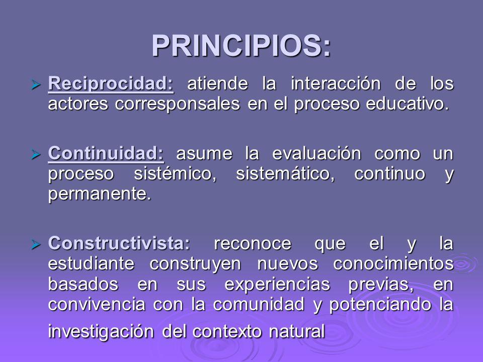 PRINCIPIOS: Reciprocidad: atiende la interacción de los actores corresponsales en el proceso educativo.