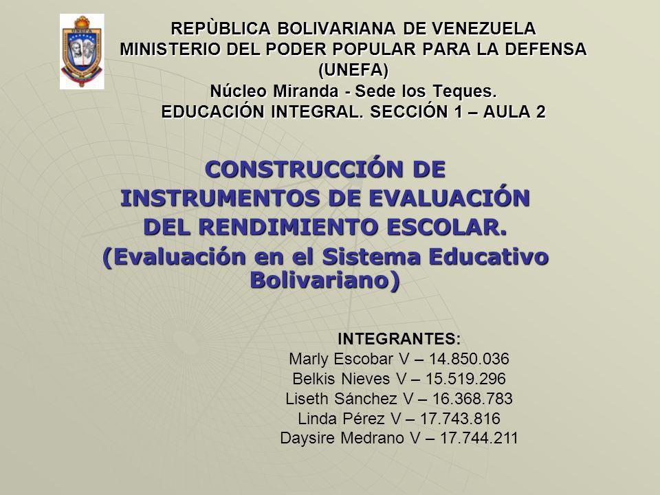REPÙBLICA BOLIVARIANA DE VENEZUELA MINISTERIO DEL PODER POPULAR PARA LA DEFENSA (UNEFA) Núcleo Miranda - Sede los Teques. EDUCACIÓN INTEGRAL. SECCIÓN