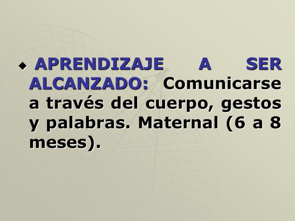 APRENDIZAJE A SER ALCANZADO: Comunicarse a través del cuerpo, gestos y palabras. Maternal (6 a 8 meses). APRENDIZAJE A SER ALCANZADO: Comunicarse a tr