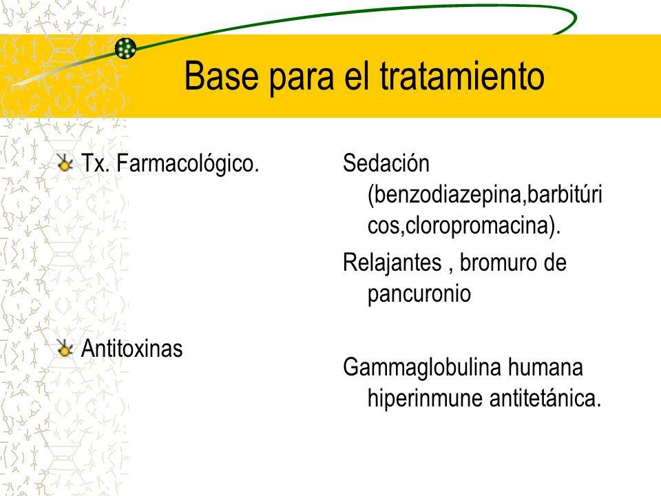 Base para el tratamiento Tx. Farmacológico. Antitoxinas Sedación (benzodiazepina,barbitúri cos,cloropromacina). Relajantes, bromuro de pancuronio Gamm
