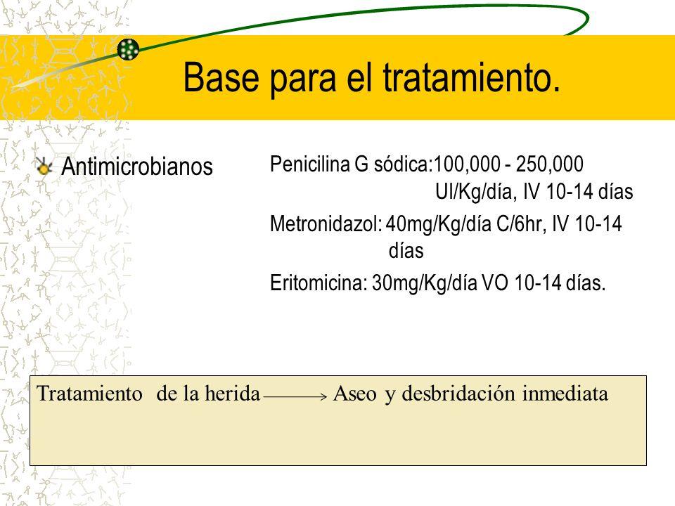 Base para el tratamiento. Antimicrobianos Penicilina G sódica:100,000 - 250,000 UI/Kg/día, IV 10-14 días Metronidazol: 40mg/Kg/día C/6hr, IV 10-14 día