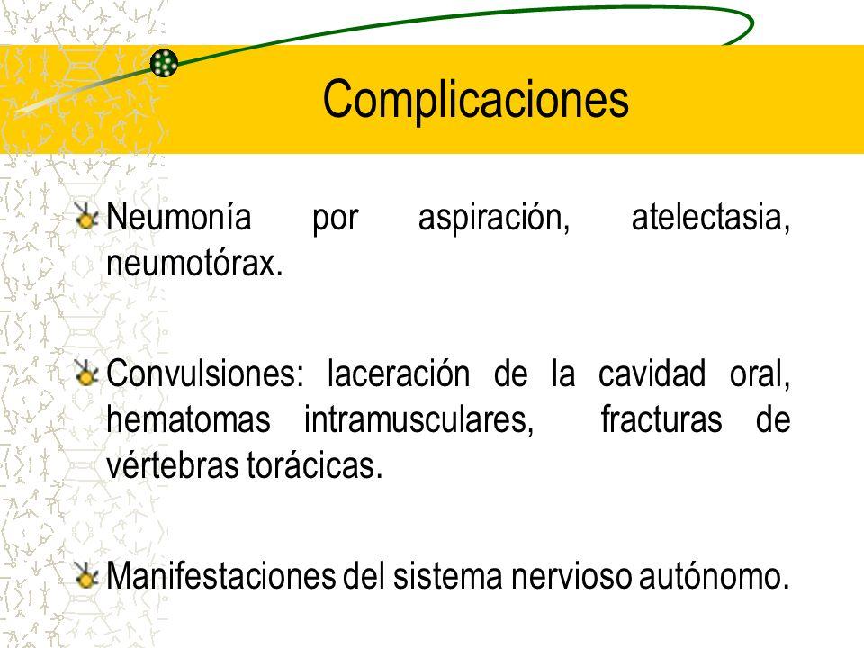 Complicaciones Neumonía por aspiración, atelectasia, neumotórax. Convulsiones: laceración de la cavidad oral, hematomas intramusculares, fracturas de