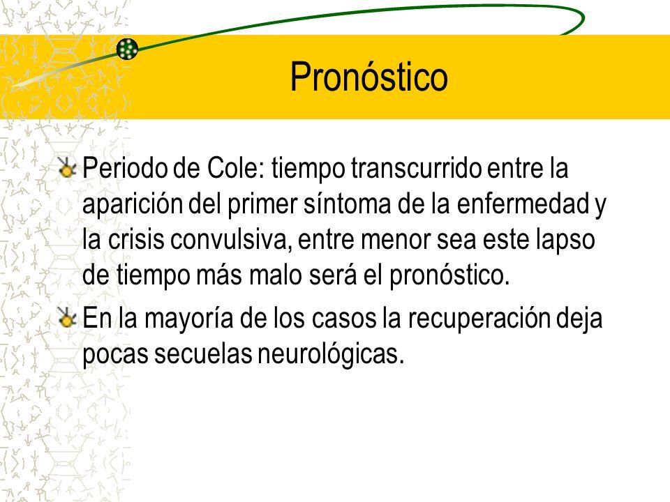 Pronóstico Periodo de Cole: tiempo transcurrido entre la aparición del primer síntoma de la enfermedad y la crisis convulsiva, entre menor sea este la