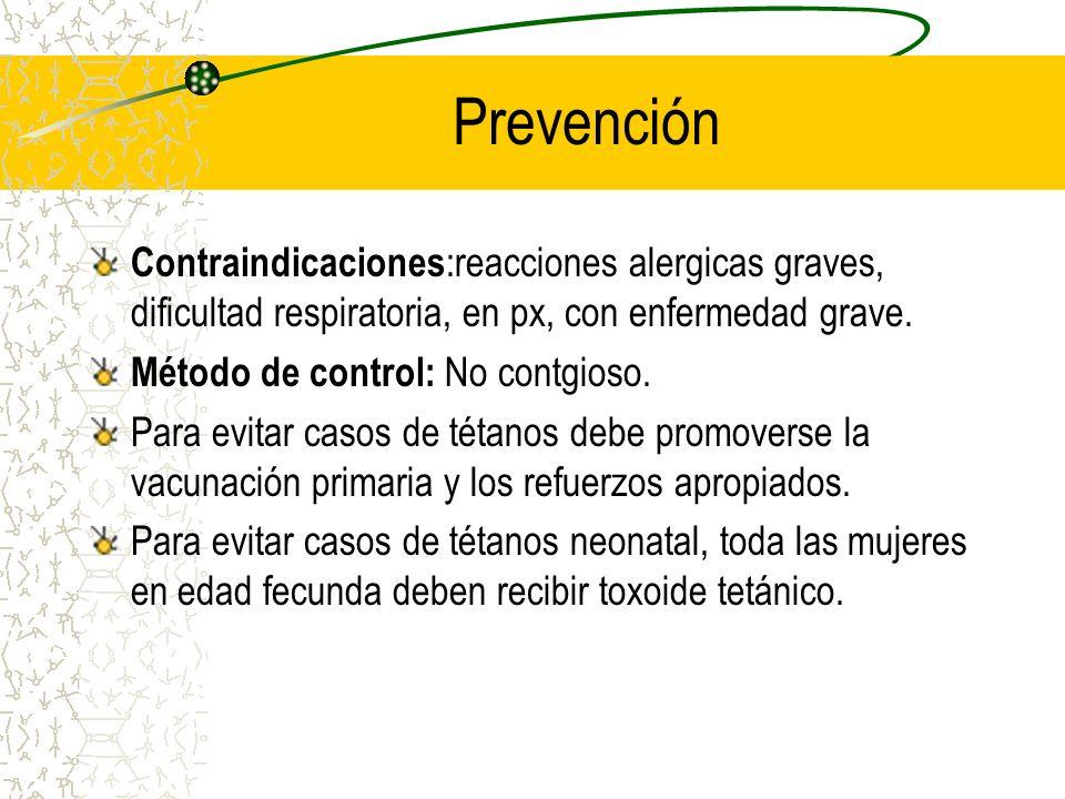 Prevención Contraindicaciones :reacciones alergicas graves, dificultad respiratoria, en px, con enfermedad grave. Método de control: No contgioso. Par