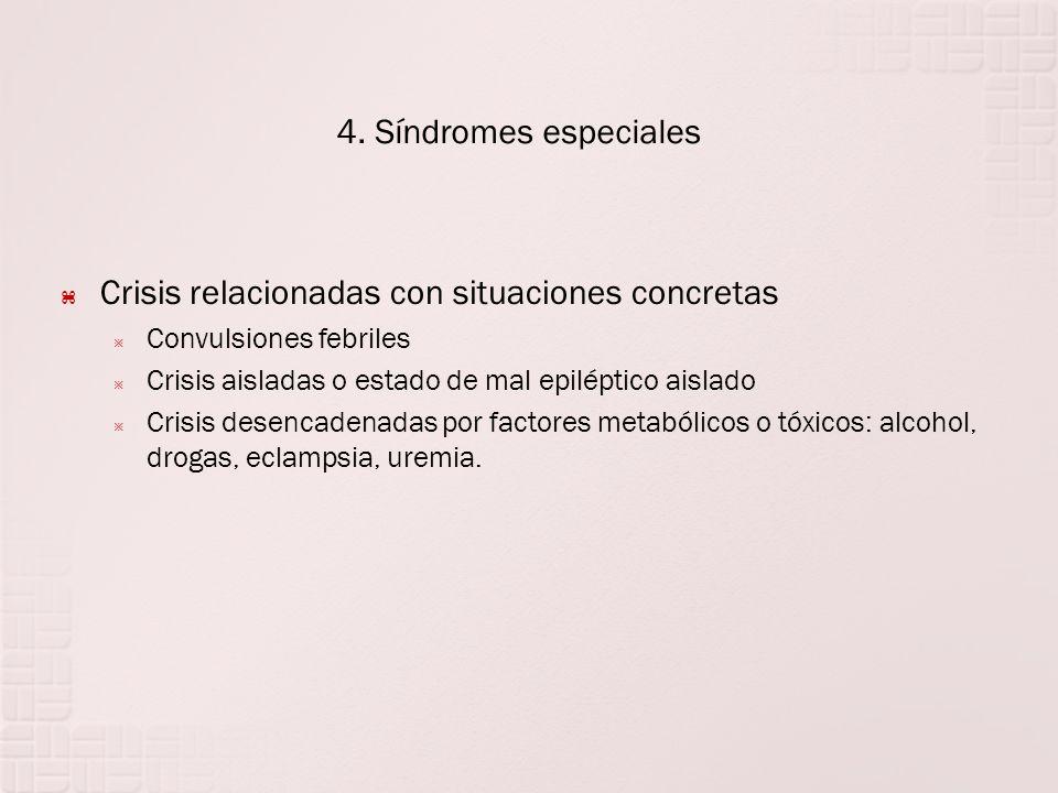 4. Síndromes especiales Crisis relacionadas con situaciones concretas Convulsiones febriles Crisis aisladas o estado de mal epiléptico aislado Crisis