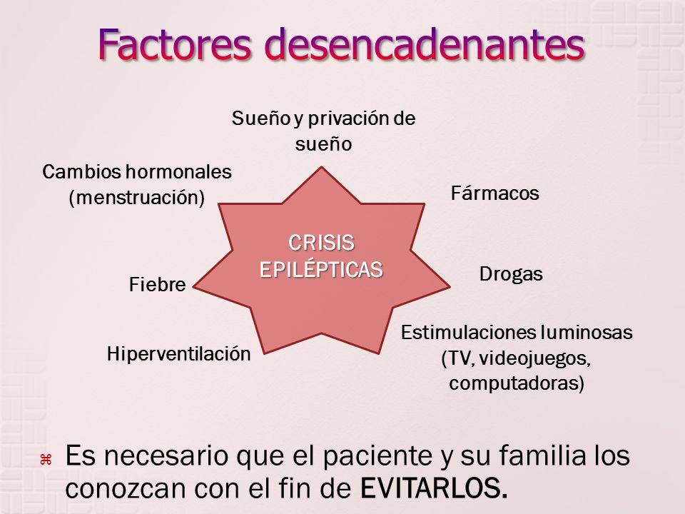 Es necesario que el paciente y su familia los conozcan con el fin de EVITARLOS. CRISIS EPILÉPTICAS Sueño y privación de sueño Estimulaciones luminosas