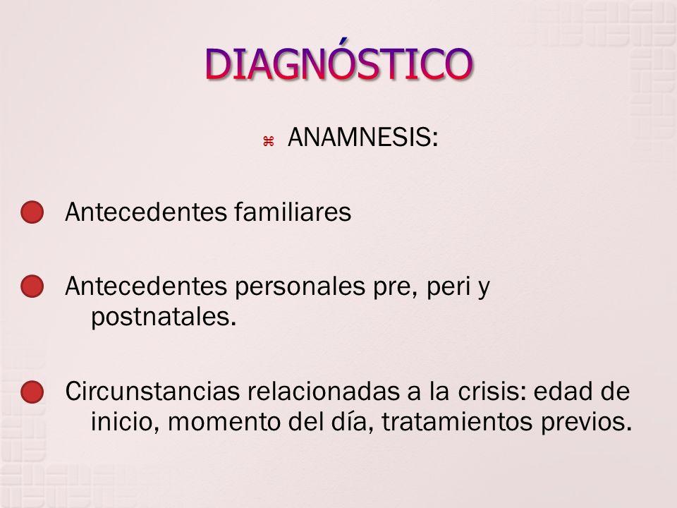 ANAMNESIS: Antecedentes familiares Antecedentes personales pre, peri y postnatales. Circunstancias relacionadas a la crisis: edad de inicio, momento d