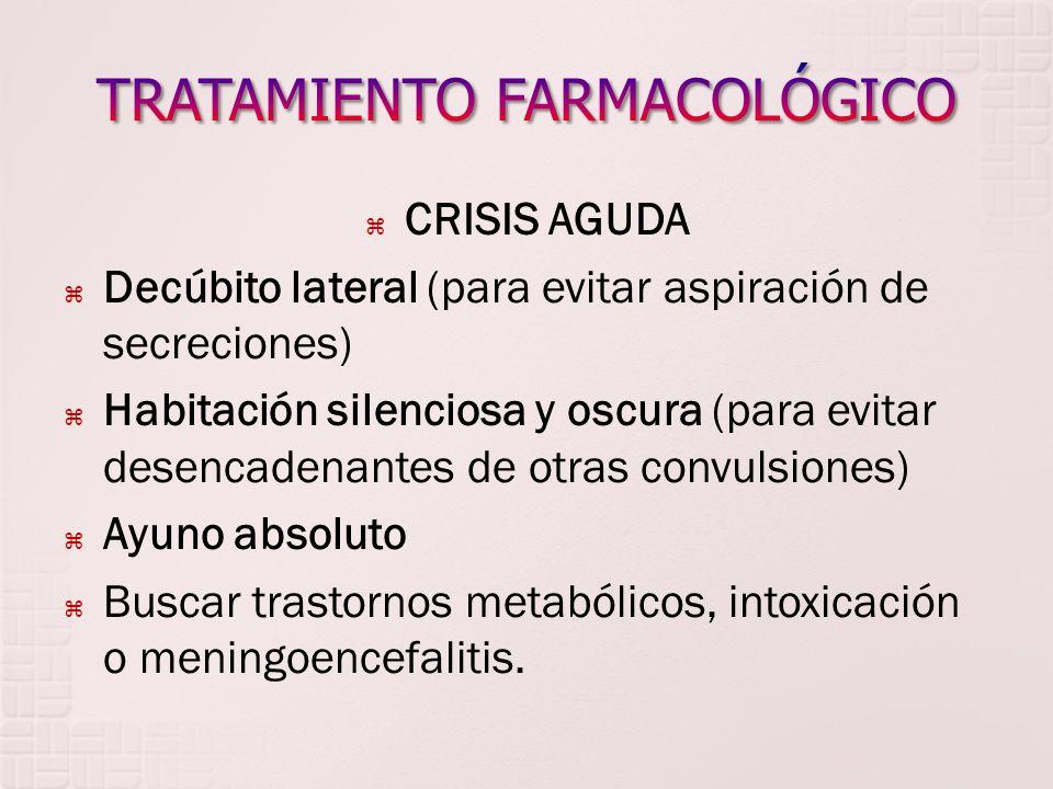 CRISIS AGUDA Decúbito lateral (para evitar aspiración de secreciones) Habitación silenciosa y oscura (para evitar desencadenantes de otras convulsione