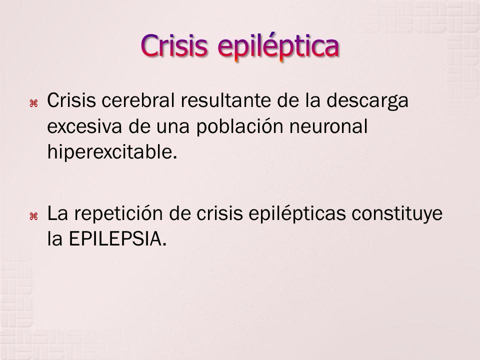 Crisis cerebral resultante de la descarga excesiva de una población neuronal hiperexcitable. La repetición de crisis epilépticas constituye la EPILEPS