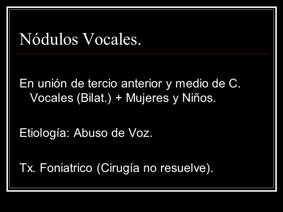 Nódulos Vocales.En unión de tercio anterior y medio de C.