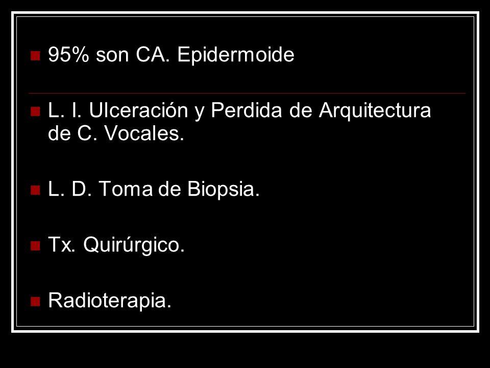95% son CA.Epidermoide L. I. Ulceración y Perdida de Arquitectura de C.