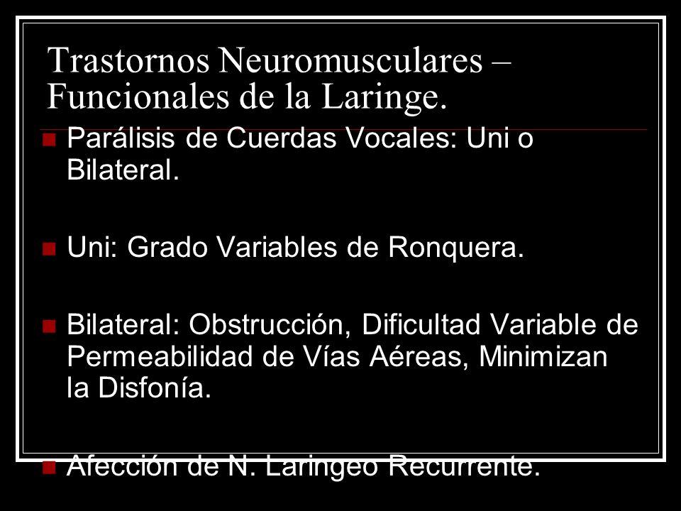 Trastornos Neuromusculares – Funcionales de la Laringe.