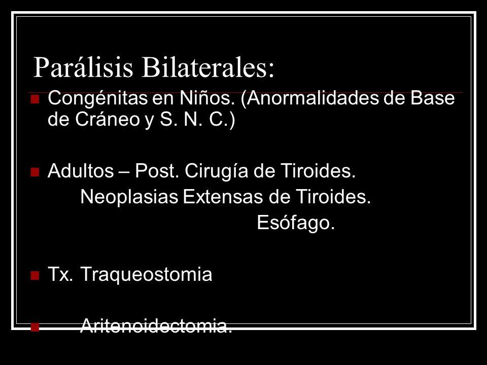 Parálisis Bilaterales: Congénitas en Niños.(Anormalidades de Base de Cráneo y S.