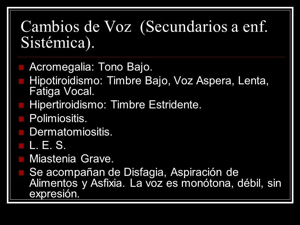 Cambios de Voz (Secundarios a enf.Sistémica). Acromegalia: Tono Bajo.