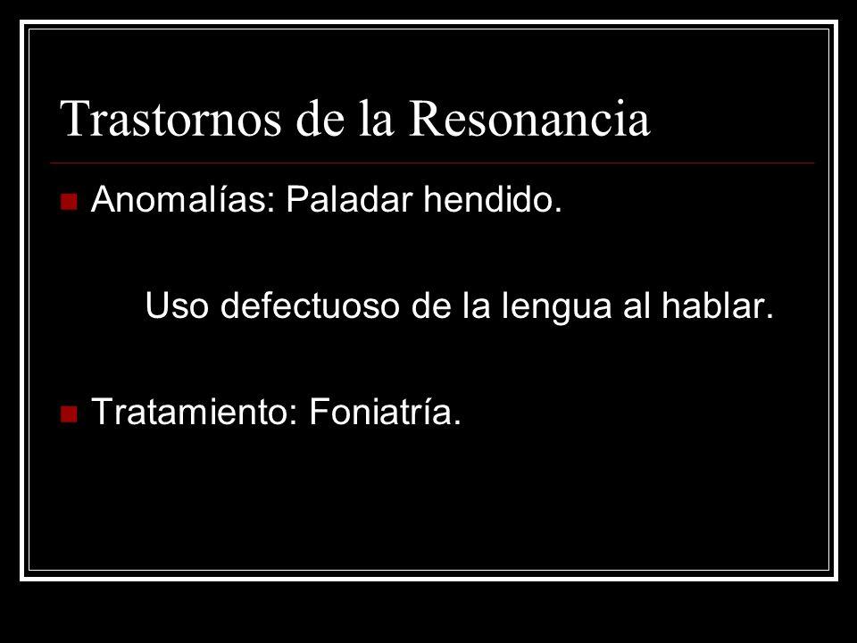 Trastornos de la Resonancia Anomalías: Paladar hendido.
