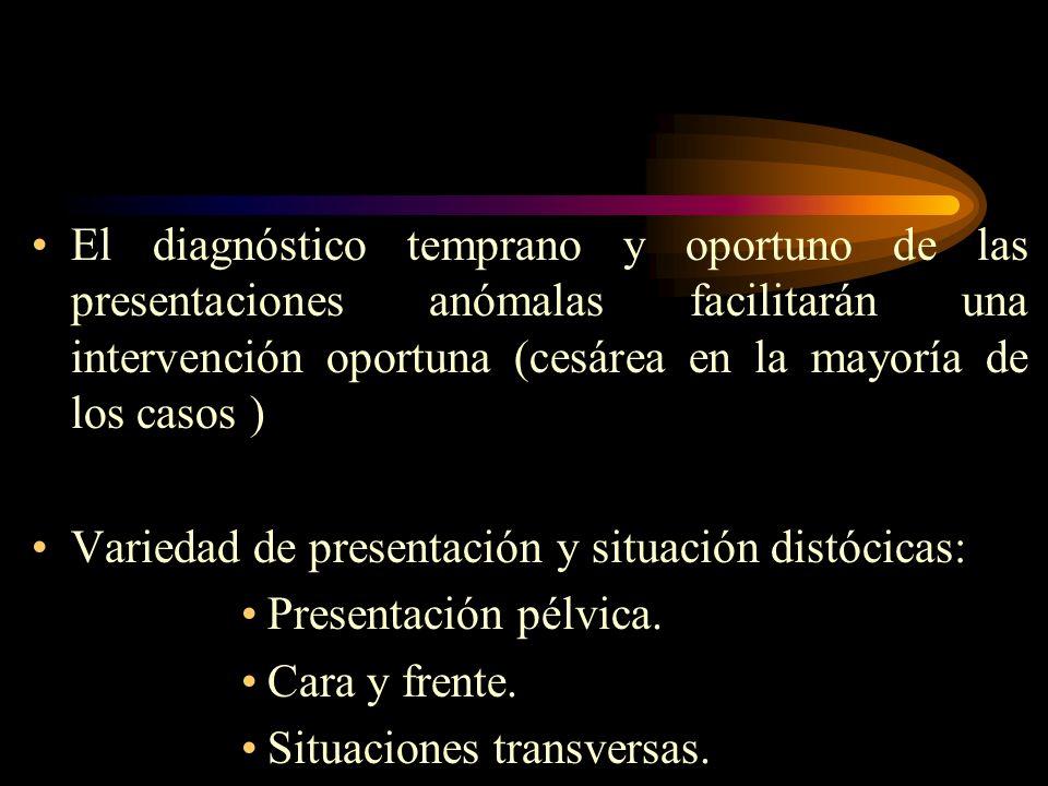 El diagnóstico temprano y oportuno de las presentaciones anómalas facilitarán una intervención oportuna (cesárea en la mayoría de los casos ) Variedad