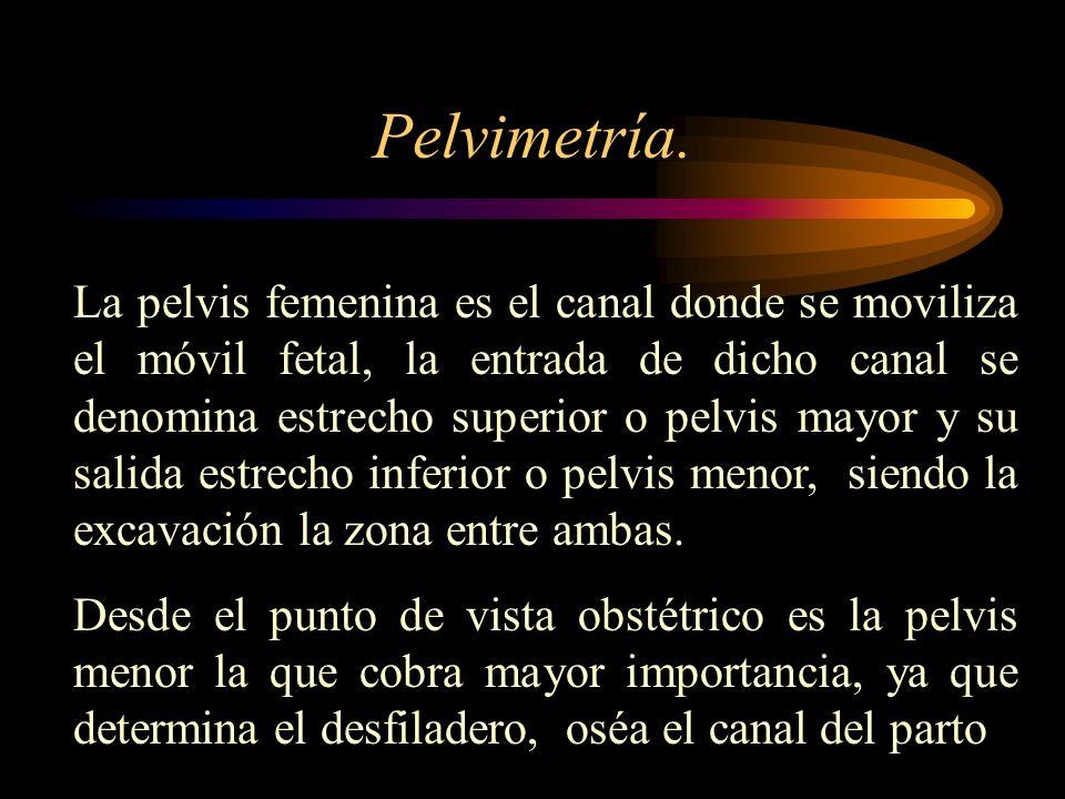 Pelvimetría. La pelvis femenina es el canal donde se moviliza el móvil fetal, la entrada de dicho canal se denomina estrecho superior o pelvis mayor y