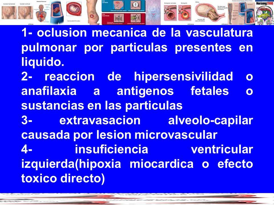 1- oclusion mecanica de la vasculatura pulmonar por particulas presentes en liquido. 2- reaccion de hipersensivilidad o anafilaxia a antigenos fetales