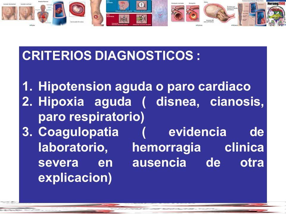 CRITERIOS DIAGNOSTICOS : 1.Hipotension aguda o paro cardiaco 2.Hipoxia aguda ( disnea, cianosis, paro respiratorio) 3.Coagulopatia ( evidencia de labo