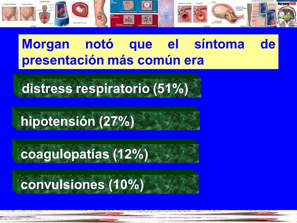 Morgan notó que el síntoma de presentación más común era distress respiratorio (51%) coagulopatías (12%) hipotensión (27%) convulsiones (10%)