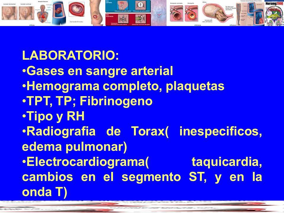 LABORATORIO: Gases en sangre arterial Hemograma completo, plaquetas TPT, TP; Fibrinogeno Tipo y RH Radiografia de Torax( inespecificos, edema pulmonar