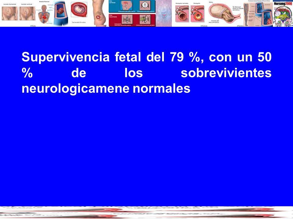 Supervivencia fetal del 79 %, con un 50 % de los sobrevivientes neurologicamene normales
