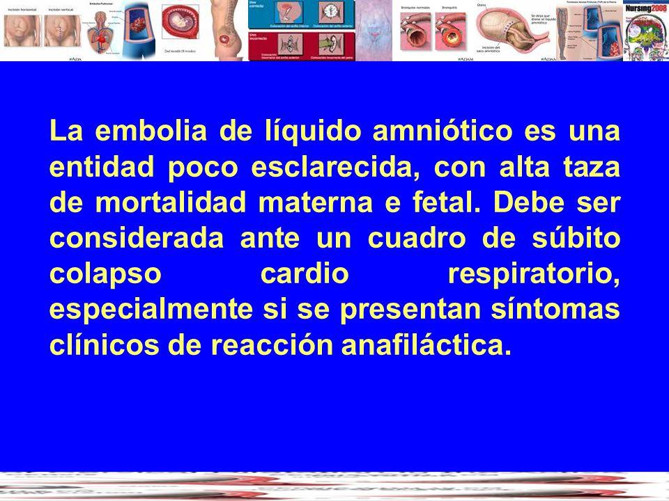 La embolia de líquido amniótico es una entidad poco esclarecida, con alta taza de mortalidad materna e fetal. Debe ser considerada ante un cuadro de s