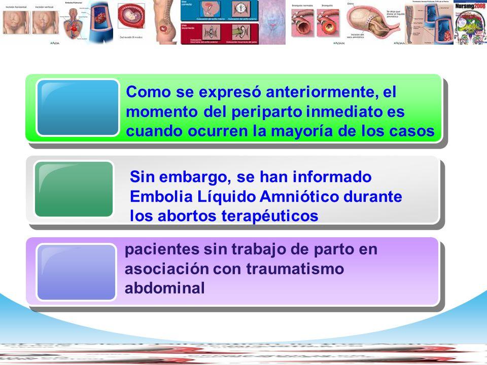 Embolia de Líquido Amniótico Manifestaciones clínicas Hipoxia Hipotensión Alteración del estado de consciencia Coagulación Intravascular Diseminada