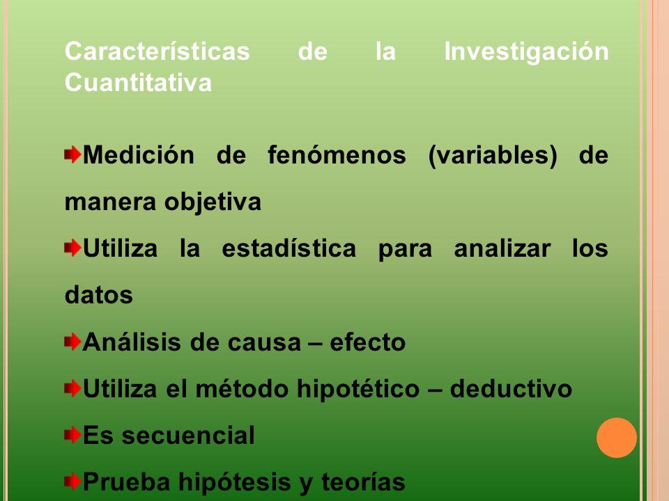 Características de la Investigación Cuantitativa Medición de fenómenos (variables) de manera objetiva Utiliza la estadística para analizar los datos A