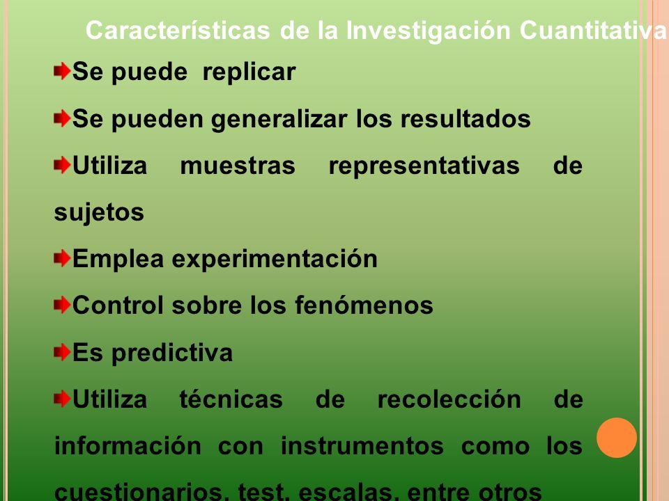 Se puede replicar Se pueden generalizar los resultados Utiliza muestras representativas de sujetos Emplea experimentación Control sobre los fenómenos