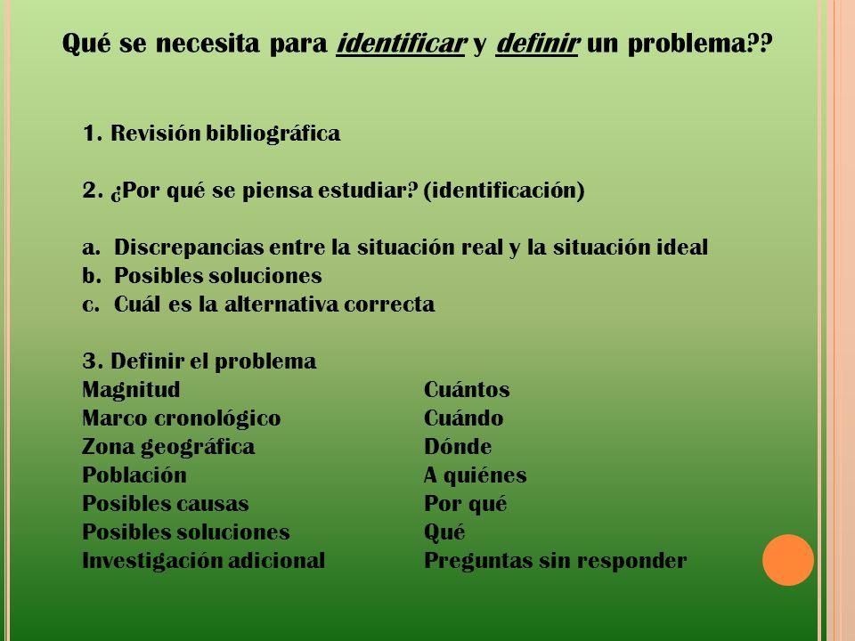 Qué se necesita para identificar y definir un problema?? 1. Revisión bibliográfica 2. ¿Por qué se piensa estudiar? (identificación) a.Discrepancias en