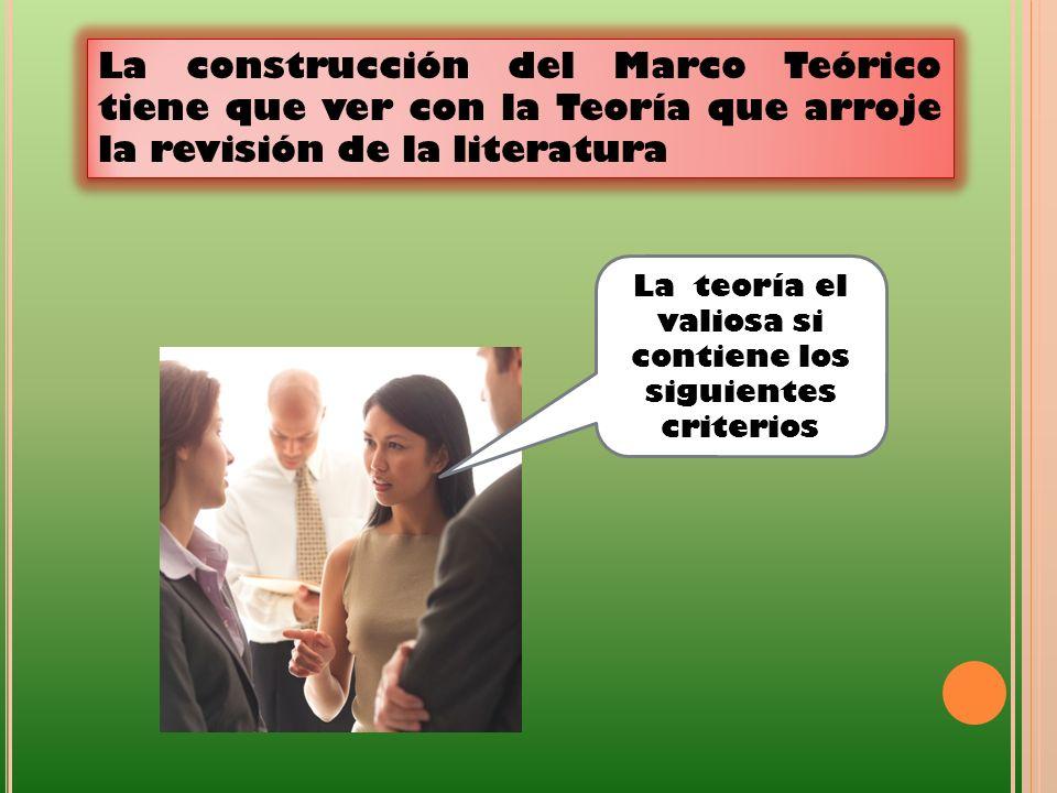 La construcción del Marco Teórico tiene que ver con la Teoría que arroje la revisión de la literatura La teoría el valiosa si contiene los siguientes