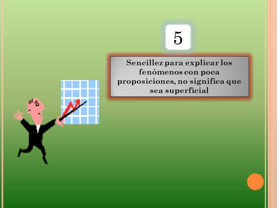 Sencillez para explicar los fenómenos con poca proposiciones, no significa que sea superficial 5