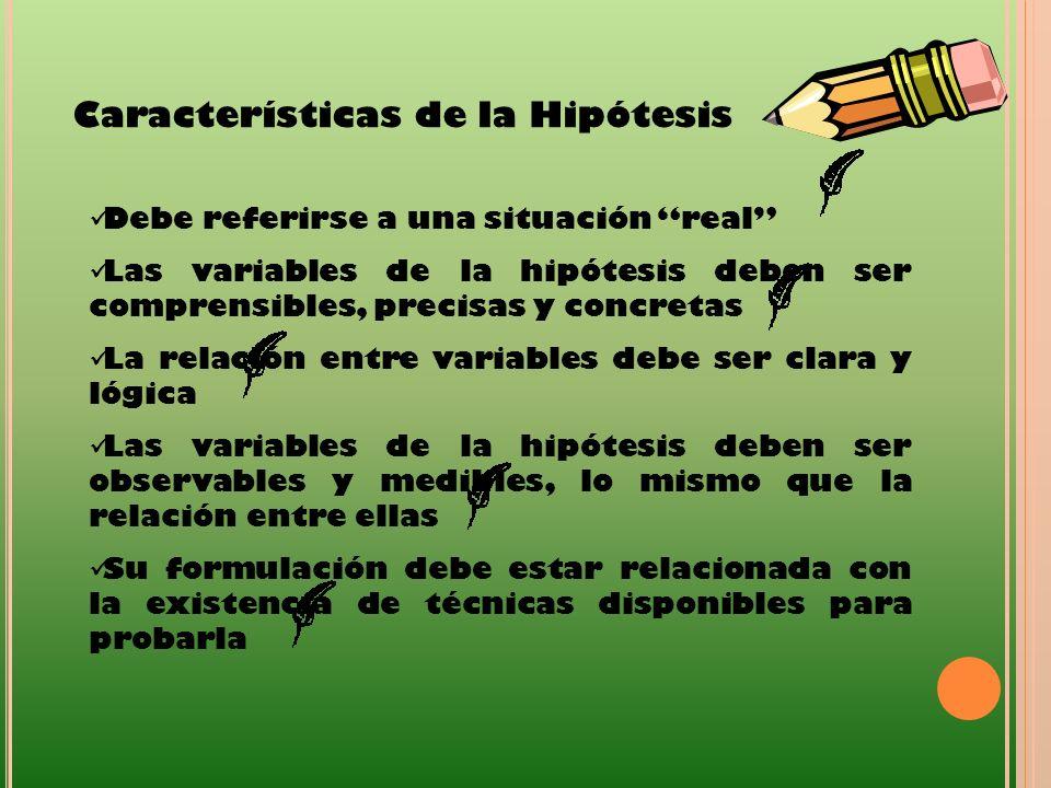 Características de la Hipótesis Debe referirse a una situación real Las variables de la hipótesis deben ser comprensibles, precisas y concretas La rel