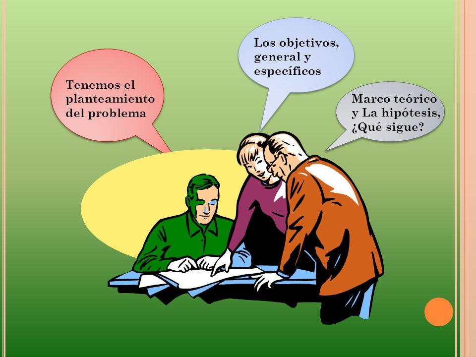 Tenemos el planteamiento del problema Los objetivos, general y específicos Marco teórico y La hipótesis, ¿Qué sigue?