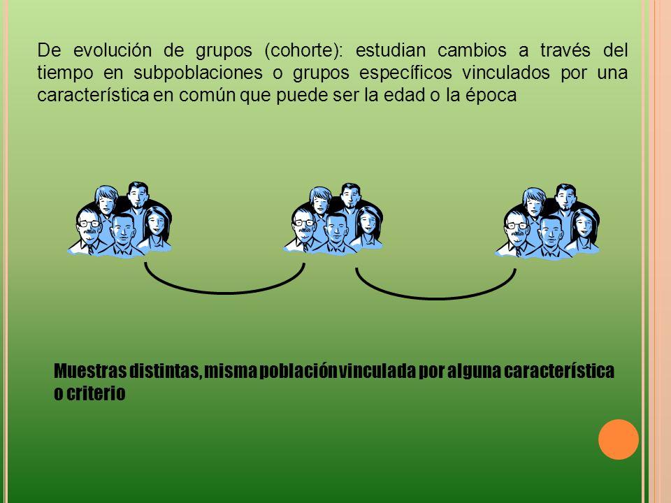 De evolución de grupos (cohorte): estudian cambios a través del tiempo en subpoblaciones o grupos específicos vinculados por una característica en com