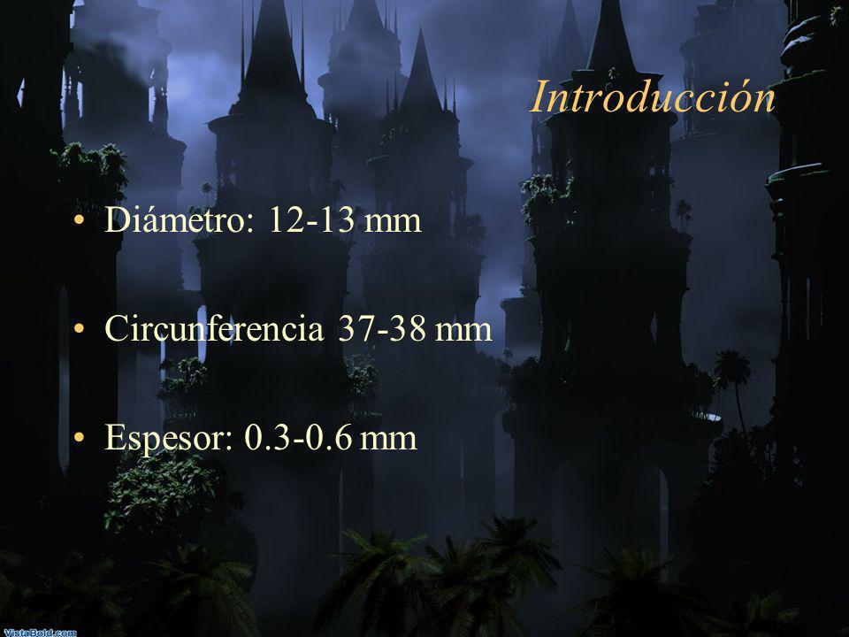 Introducción Diámetro: 12-13 mm Circunferencia 37-38 mm Espesor: 0.3-0.6 mm