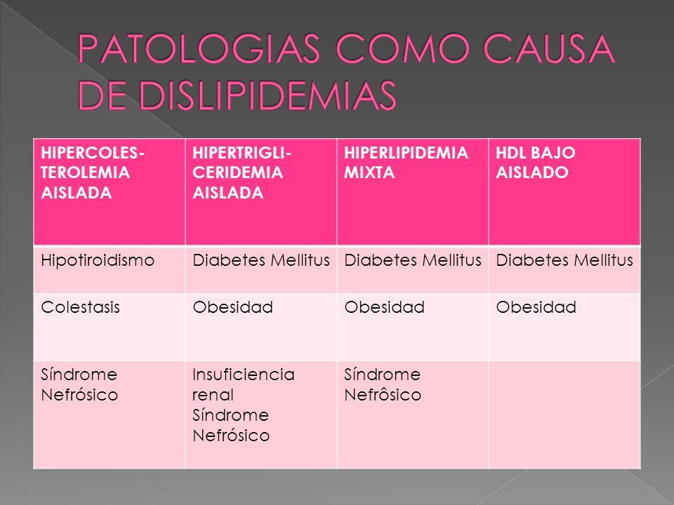 HIPERCOLES- TEROLEMIA AISLADA HIPERTRIGLI- CERIDEMIA AISLADA HIPERLIPIDEMIA MIXTA HDL BAJO AISLADO HipotiroidismoDiabetes Mellitus ColestasisObesidad