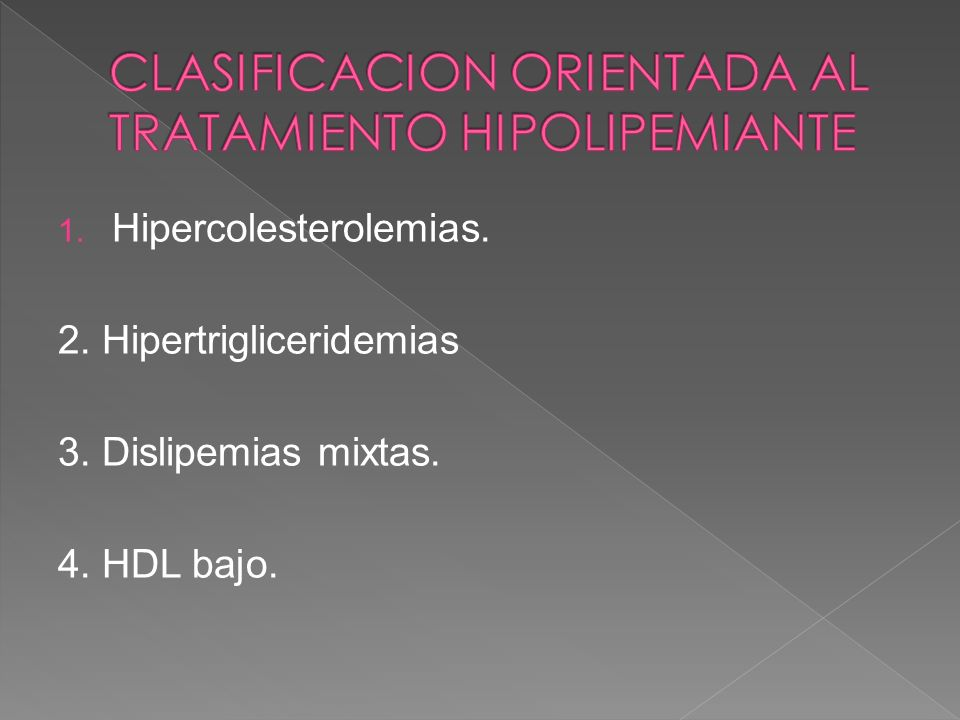 1. Hipercolesterolemias. 2. Hipertrigliceridemias 3. Dislipemias mixtas. 4. HDL bajo.