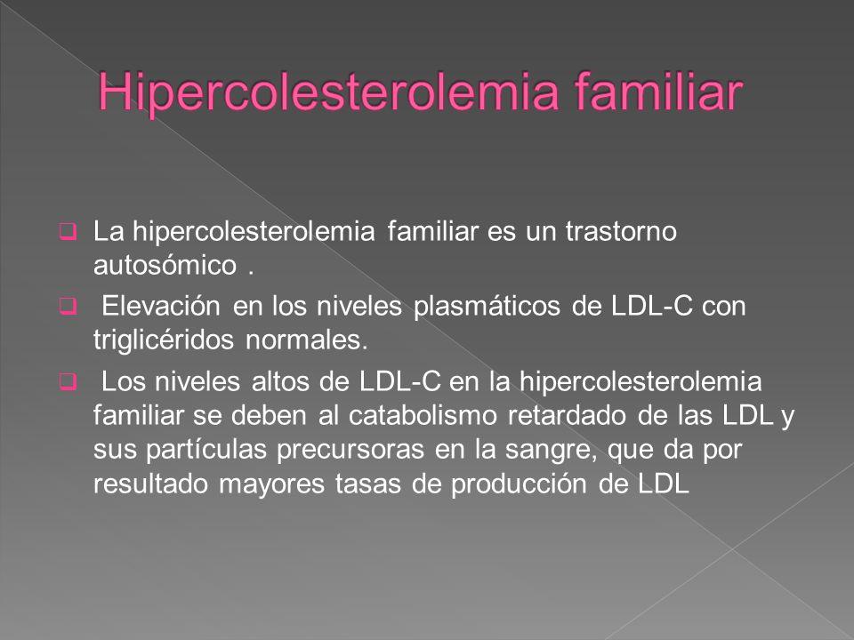 La hipercolesterolemia familiar es un trastorno autosómico. Elevación en los niveles plasmáticos de LDL-C con triglicéridos normales. Los niveles alto