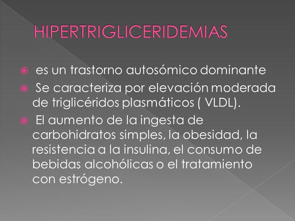 es un trastorno autosómico dominante Se caracteriza por elevación moderada de triglicéridos plasmáticos ( VLDL). El aumento de la ingesta de carbohidr