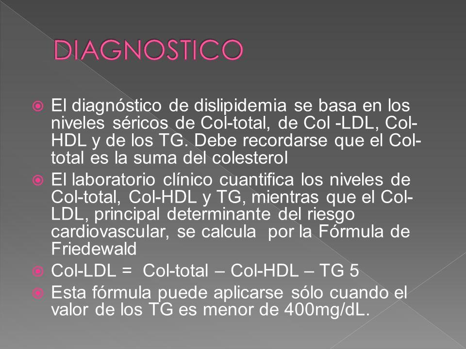 El diagnóstico de dislipidemia se basa en los niveles séricos de Col-total, de Col -LDL, Col- HDL y de los TG. Debe recordarse que el Col- total es la