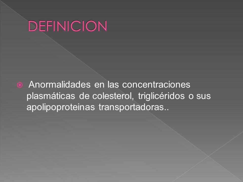 Anormalidades en las concentraciones plasmáticas de colesterol, triglicéridos o sus apolipoproteinas transportadoras..