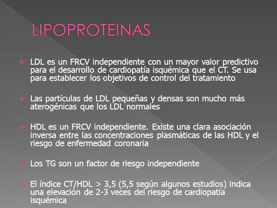 LDL es un FRCV independiente con un mayor valor predictivo para el desarrollo de cardiopatía isquémica que el CT. Se usa para establecer los objetivos