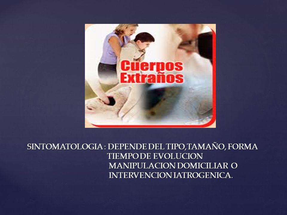 SINTOMATOLOGIA : DEPENDE DEL TIPO,TAMAÑO, FORMA TIEMPO DE EVOLUCION MANIPULACION DOMICILIAR O INTERVENCION IATROGENICA.