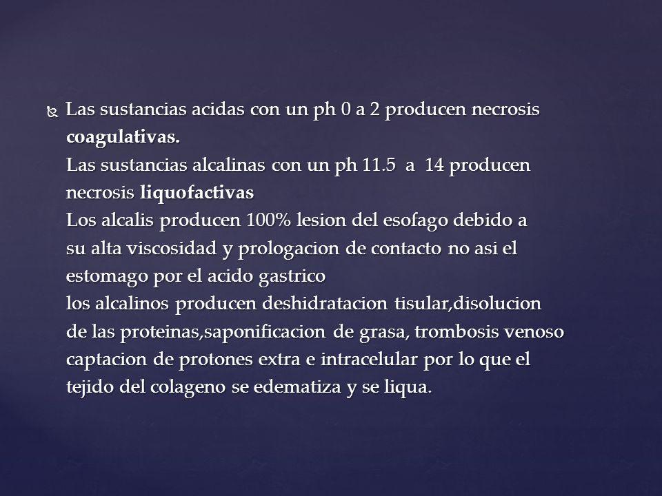 Las sustancias acidas con un ph 0 a 2 producen necrosis Las sustancias acidas con un ph 0 a 2 producen necrosis coagulativas. coagulativas. Las sustan
