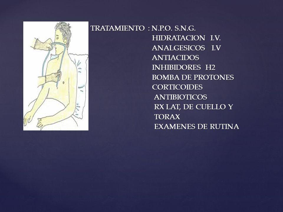 TRATAMIENTO : N.P.O. S.N.G. TRATAMIENTO : N.P.O. S.N.G. HIDRATACION I.V. HIDRATACION I.V. ANALGESICOS I.V ANALGESICOS I.V ANTIACIDOS ANTIACIDOS INHIBI