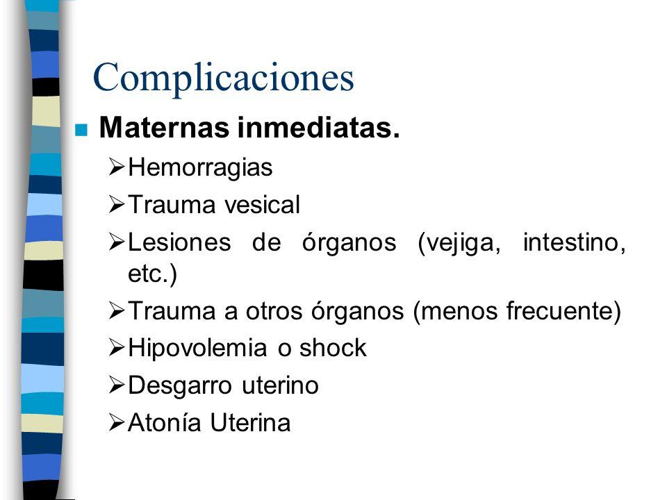Complicaciones n Maternas inmediatas. Hemorragias Trauma vesical Lesiones de órganos (vejiga, intestino, etc.) Trauma a otros órganos (menos frecuente