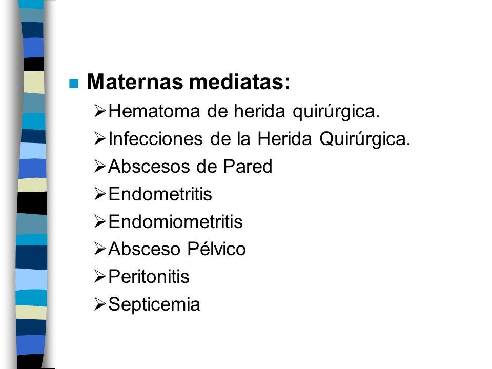 n Maternas mediatas: Hematoma de herida quirúrgica. Infecciones de la Herida Quirúrgica. Abscesos de Pared Endometritis Endomiometritis Absceso Pélvic